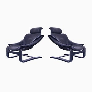 Mid-Century Black Leather Lounge Chairs, Set of 2