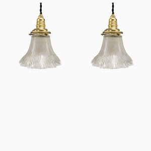 Vintage Ribbed Glass Pendant Lamps from Holophane, 1960s, Set of 2