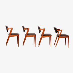 Model 42 Teak Dining Chairs by Kai Kristiansen for SVA Møbler, 1950s, Set of 4