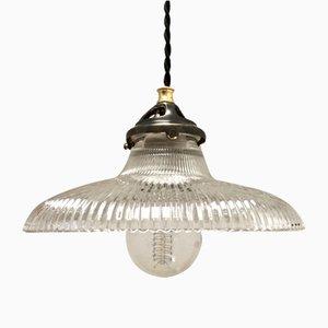 Lampe à Suspension Mid-Century en Verre Strié par Holophane, 1950s