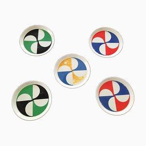 Piatti in ceramica di Gio Ponti per Franco Pozzi, anni '60, set di 5