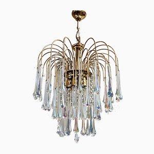 Brass & Murano Crystal Glass Chandelier, 1970s