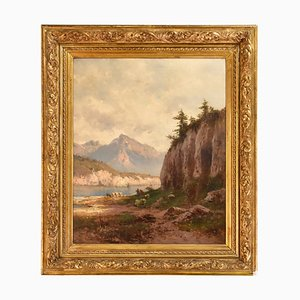 Antique Landscape Painting by Godchaux Emile