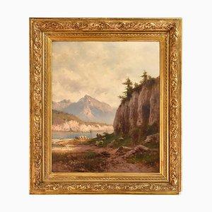 Dipinto di paesaggio antico di Godchaux Emile