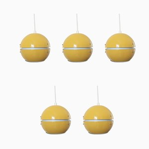 Mid-Century Danish Pendant Lamps, 1969, Set of 5