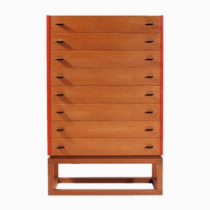 Scandinavian Modern Oregon Pine and Red Lacquer Dresser, 1960s