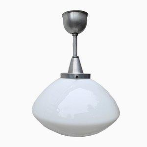Lampe à Suspension Art Déco Vintage en Verre Opalin