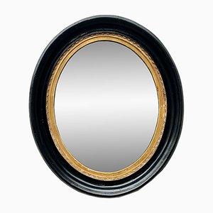 Antiker ovaler Spiegel mit schwarzem Rahmen