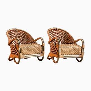 Dänische Modell AJ237 Armlehnstühle aus Bambus von Arne Jacobsen, 2000er, 2er Set