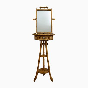 Bamboo Standing Mirror with Table, 1950s