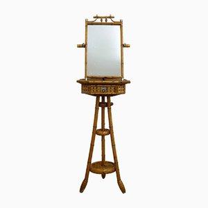 Standspiegel aus Bambus mit Schublade, 1950er
