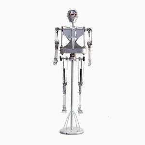 Aluminum Decorative Robot Skeleton, 1990s