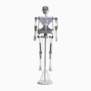 Esqueleto robot decorativo de aluminio, años 90