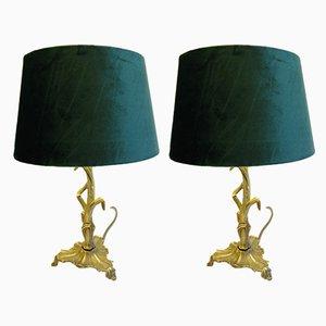 Art Nouveau Brass and Velvet Table Lamps, 1920s, Set of 2