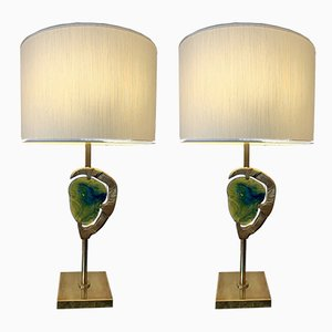 Italian Brass & Murano Table Lamps from Esperia, 1990s, Set of 2