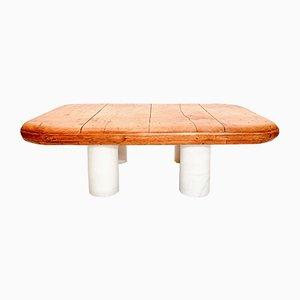 Table Basse Vintage en Bois et Marbre