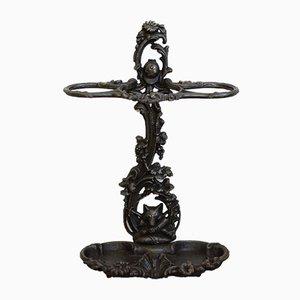 Paragüero antiguo de hierro fundido con cabeza de zorro