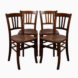 Antique Rustic Dining Chairs, 1910s, Set of 4