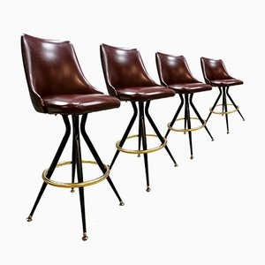 Eclectic Brass Casino Stools, 1960s, Set of 4