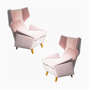 Velvet Lounge Chairs by Melchiorre Bega, 1950s, Set of 2