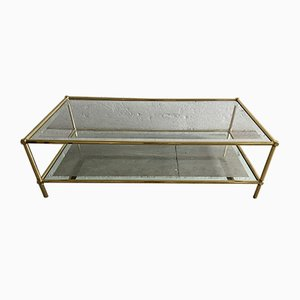 Italian Modern Brass & Transparent Glass Coffee Table, 1960s
