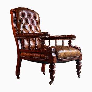 Antiker William IV Armlehnstuhl aus Mahagoni & Leder