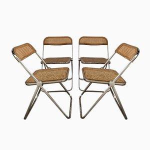 Esszimmerstühle aus Holz & Pinienholz von Giancarlo Piretti für Castelli / Anonima Castelli, 1970er, 4er Set