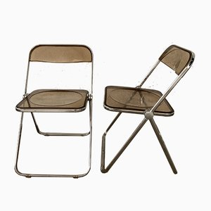 Smoked Lucite Folding Chairs by Giancarlo Piretti for Castelli / Anonima Castelli, 1970s, Set of 2