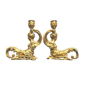 Antique Gilt Bronze Candleholders, Set of 2