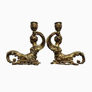 Bougeoirs Antiques en Bronze Doré, Set de 2