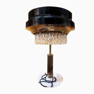 Lámpara de mesa de metal y cristal de Murano, años 60