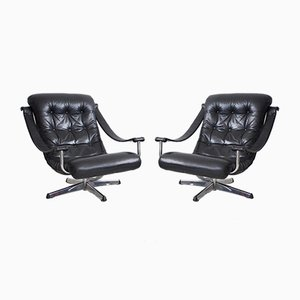 Black Leather Swivel Chairs from Göte Möbler, 1960s, Set of 2