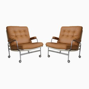 Brown Leather Model Karin Lounge Chairs by Bruno Mathsson for Dux, 1970s, Set of 2
