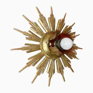 Mid-Century Wooden Sunburst Ceiling Lamp