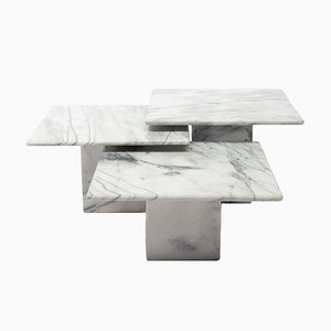 Italian Marble Coffee Tables, 1972, Set of 3