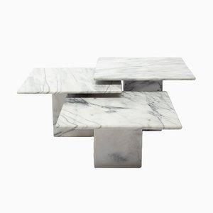 Tavolini da caffè in marmo, Italia, 1972, set di 3