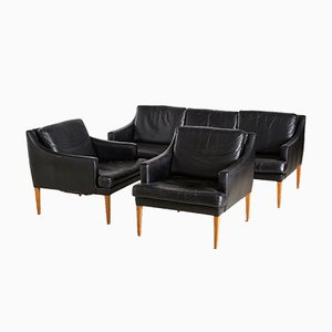 Leather Living Room Set, 1960s, Set of 3