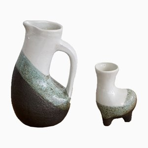 Enameled Earthenware Jug and Vase Set from Gilbert Valentin, 1950s