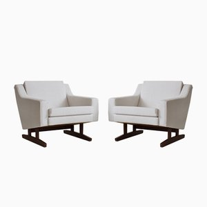 White Teak Armchairs, 1960s, Set of 2