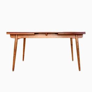 Tavolo da pranzo AT 312 in teak e quercia di Hans J. Wegner per Andreas Tuck, anni '50