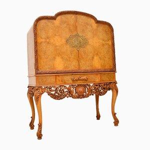 Mueble bar vintage de nogal nudoso de Hille, años 20