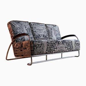 Sofá de tres plazas Art Déco vintage de metal cromado