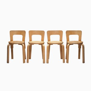 Vintage Model 65 Dining Chairs by Alvar Aalto for Artek, Set of 4