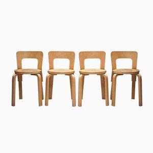 Vintage Modell 65 Esszimmerstühle von Alvar Aalto für Artek, 4er Set
