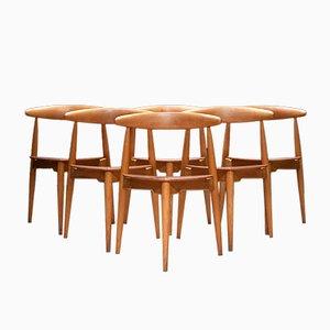 Mid-Century Modell FH 4103 Esszimmerstühle von Hans Wegner für Fritz Hansen, 6er Set