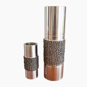 Brutalist Stainless Steel Vases, 1960s, Set of 2