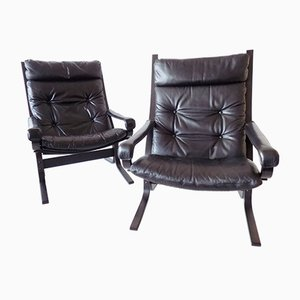 Leather Lounge Chairs by Ingmar Relling for Westnofa, 1960s, Set of 2