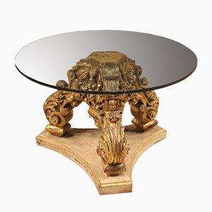 Mesa de centro italiana de madera lacada y vidrio, años 70