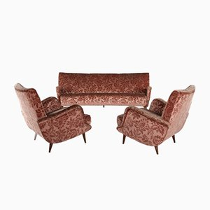 806 Sofa & Armchairs by Carlo de Carli for Cassina, 1950s, Set of 3
