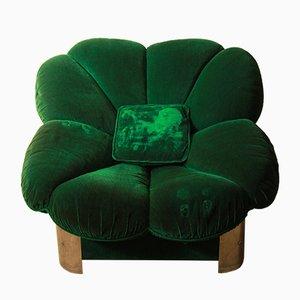 Italian Velvet Armchair, 1960s